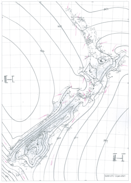 Figure 1: Hand drawn analyses, such as this one shown for 3pm 12 January 2021, help inform the MetService Expert Meteorologist's knowledge of meso-scale features and synoptic patterns every 3 hours, every day. This helps the MetService forecasters to determine which weather models are accurately capturing current conditions, meaning that their forecasts are likely to be better than those models which are not.