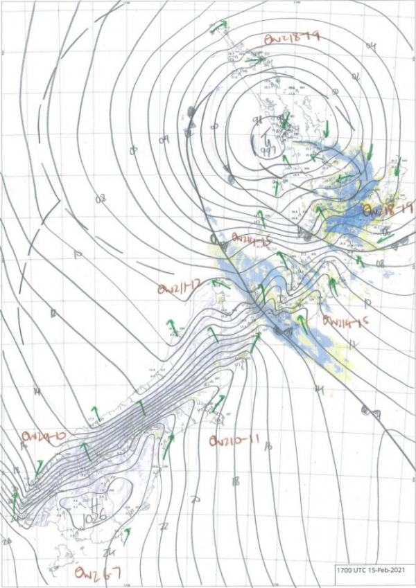 Figure 2: Hand drawn analysis for 6am 16 February 2021, showing a significant Low and associated rain bands affecting the North Island.